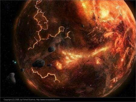 Cliquez pour agrandir. A l'Hadéen, le bombardement de la Terre par des météorites était encore intense. Crédit : Fahad Sulehria