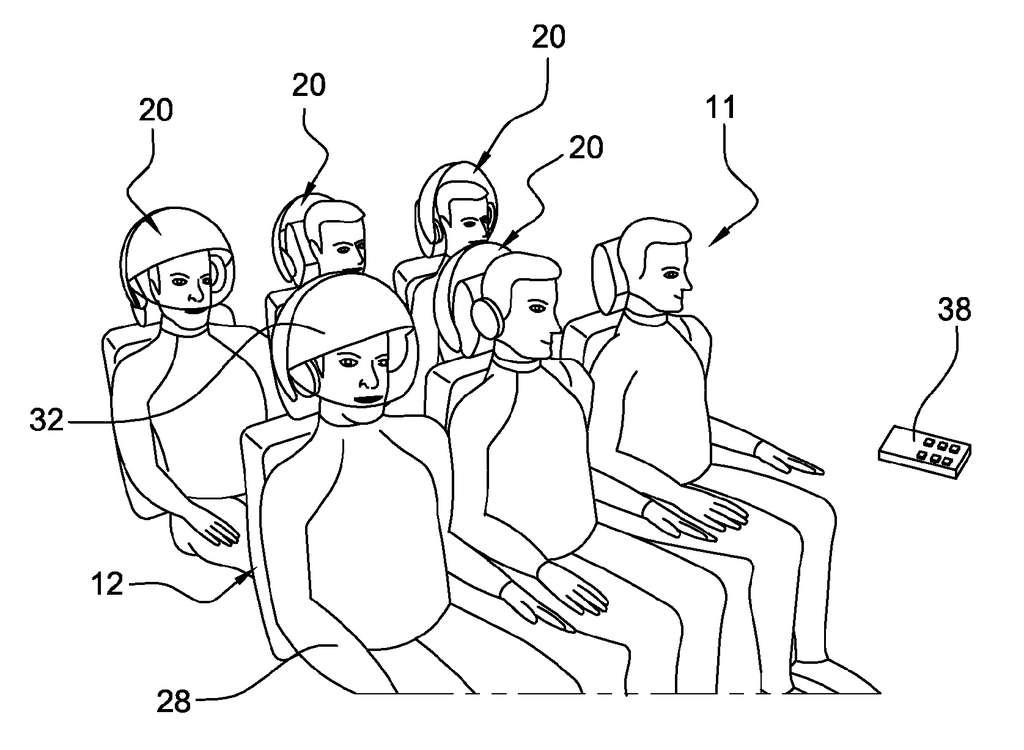 Ce schéma montre l'idée des ingénieurs d'Airbus : les passagers peuvent basculer le casque fixé sur l'appuie-tête et y glisser leur tête. Ils pourront alors voir un film ou lancer un jeu vidéo, et pourront même, peut-être, sentir des odeurs... © Airbus, all rights reserved