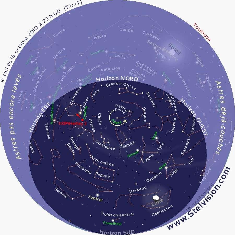 Position de 103P/Hartley 2 (rond rouge) le 16 octobre vers 23 heures TU La flèche indique le sens de déplacement de la comète. © stelvision.com