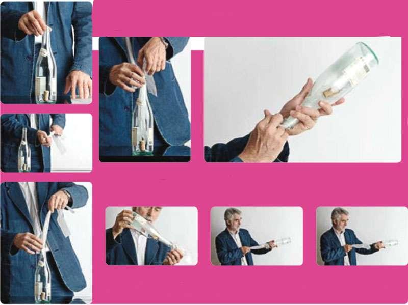 On tire un coup sec sur le sac, et le bouchon sort de la bouteille ! © Le Pommier