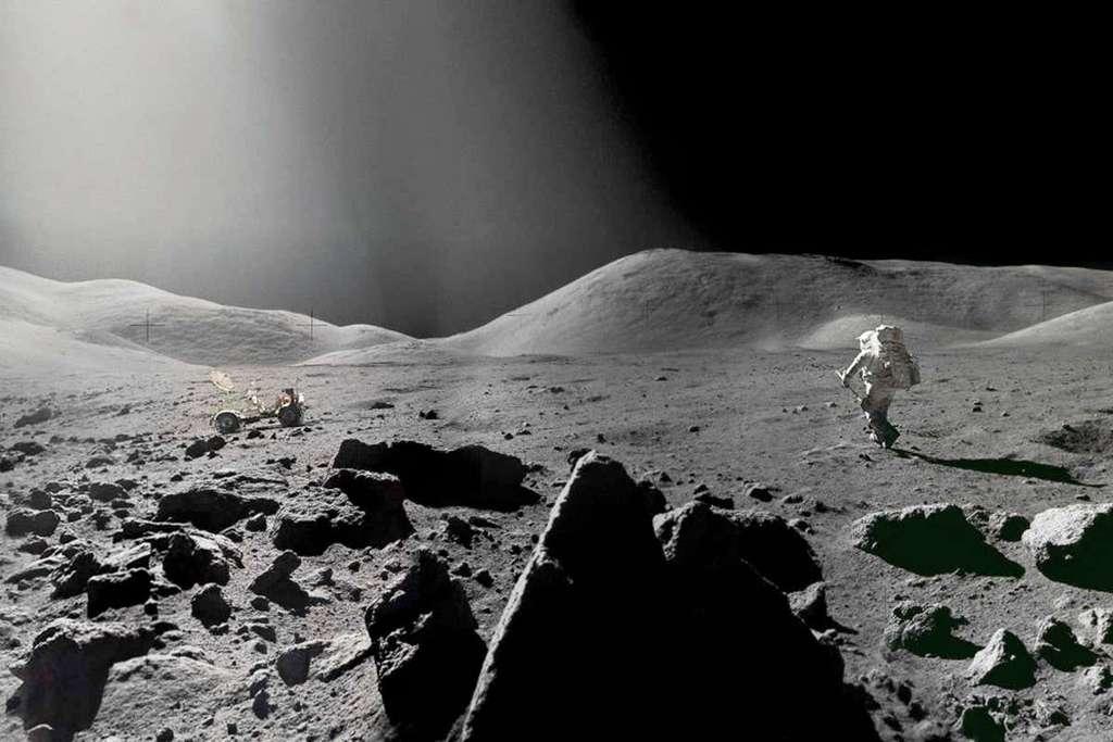Un extrait d'un panorama du sol lunaire avec son régolite lors de la mission Apollo 17. © Nasa