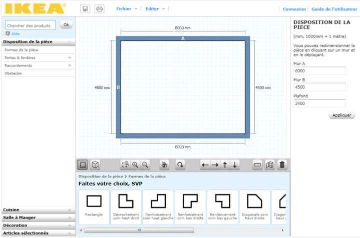 Comment aménager sa cuisine en 3D, pour la rendre fonctionnelle ? Sur cette image, la création du plan d'une pièce avec Ikea Home Planner. © Ikea
