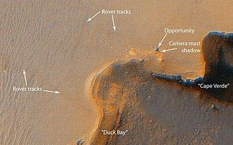 La zone d'exploration actuelle d'Opportunity à proximité du cratère Victoria. Les traces de roulage au sol sont nettement visibles, démontrant l'extrême pouvoir de résolution de la caméra HiRISE de Mars Reconnaissance Orbiter.