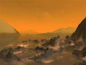 Si, sur Terre, l'eau joue le rôle de solvant pour le vivant, sur Titan on pense qu'un mélange d'eau et d'ammoniaque pourrait avoir les mêmes propriétés. Le méthane seul ne pourrait pas les avoir car il lui manque l'oxygène de l'eau. © Stan Richard