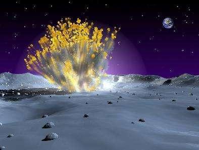 Vue d'artiste d'une explosion de météorite à la surface de la Lune (Crédits : NASA/MSFC)