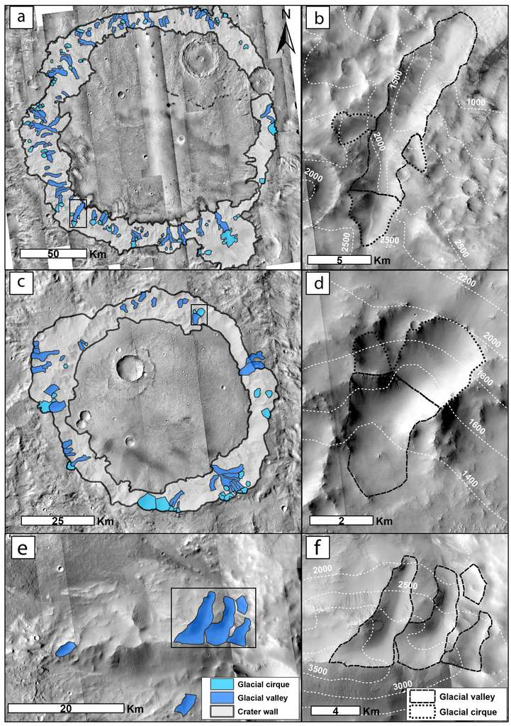 Les vallées glaciaires (en bleu foncé) et les cirques glaciaires (en bleu clair) découverts dans le cratère Dawes (a), le second cratère (c) et sur les flancs d'une montagne (e) de la région de Terra Sabaea. Les parois des cratères sont en gris clair. Des exemples de morphologies sont montrés en gros plan à droite pour chaque site. Des pointillés plus espacés distinguent les cirques glaciaires des vallées glaciaires, en pointillés plus rapprochés. © Axel Bouquety et al., Geomorphology, 2019