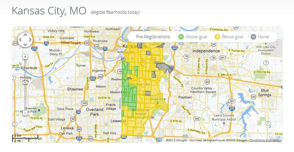 Depuis que les préréservations sont ouvertes à Kansas City, certains fiberhoods ont déjà dépassé les objectifs fixés par Google. Ils sont, sur cette carte, signalés en vert et seront les premiers connectés, tandis que ceux en jaune n'ont pas encore atteint cet objectif. En grisé, les quelques fiberhoods où personne n'a effectué pour le moment de préréservation. © Google