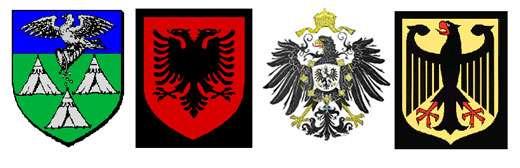 De gauche à droite : armoiries de Fécamp, armes de l'Albanie, armes de l'Empire, aigle allemand. © Reproduction et utilisation interdites