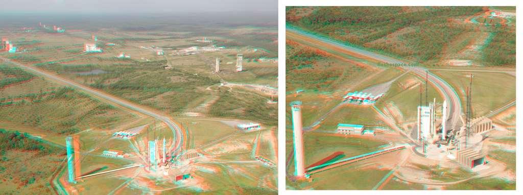 Vue aérienne et en 3D (à regarder avec une paire de lunettes à filtres bleu et rouge) des installations du site et de la zone de lancement d'Ariane 5 (ELA-3). © S. Corvaja, Rémy Decourt, Esa