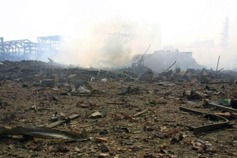 L'usine AZF, le 21 septembre 2001, à Toulouse, peu après l'explosion. © Éric Cabanis, AFP