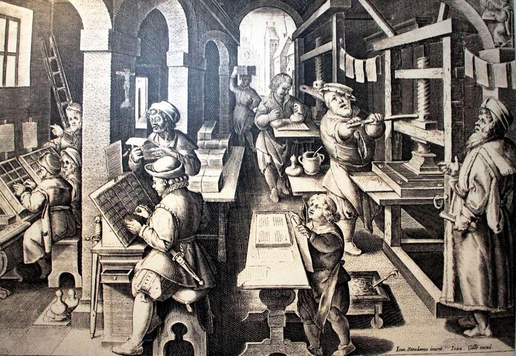 Gravure « Atelier d'impression de livres » par Jan Van der Straet, XVIe siècle. Musée Plantin-Moretus, Anvers, Belgique. © Wikimedia Commons, domaine public