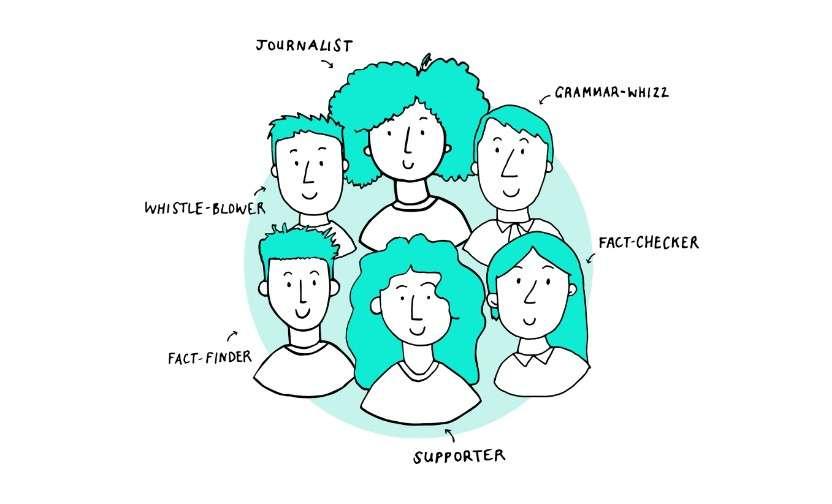 Le concept central de Wikitribune est de réunir des journalistes professionnels et des contributeurs indépendants, qu'il s'agisse de particuliers témoins d'un fait, de lanceurs d'alerte, de spécialistes d'orthographe et de grammaire, qui vont œuvrer de concert pour garantir l'authenticité et la précision d'une information. © Wikitribune