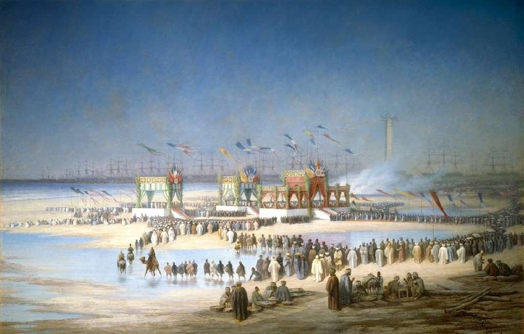 """Tableau """"L'inauguration du canal de Suez, le 17 novembre 1869"""" par Edouard Riou ; château de Compiègne. © RMN - Grand Palais / D. Arnaudet."""