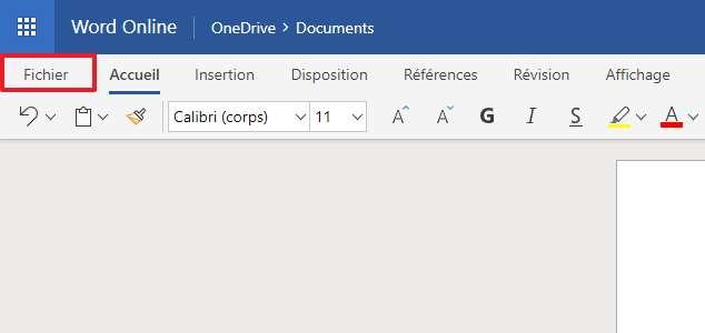 Cliquez sur Fichier pour accéder au menu. © Microsoft
