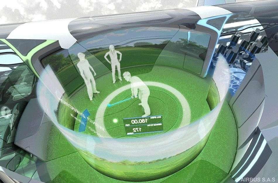 Les interfaces gestuelles, comme celle de la Kinect de Microsoft ou la manette Wii, permettront peut-être de jouer au golf en vol. © Airbus