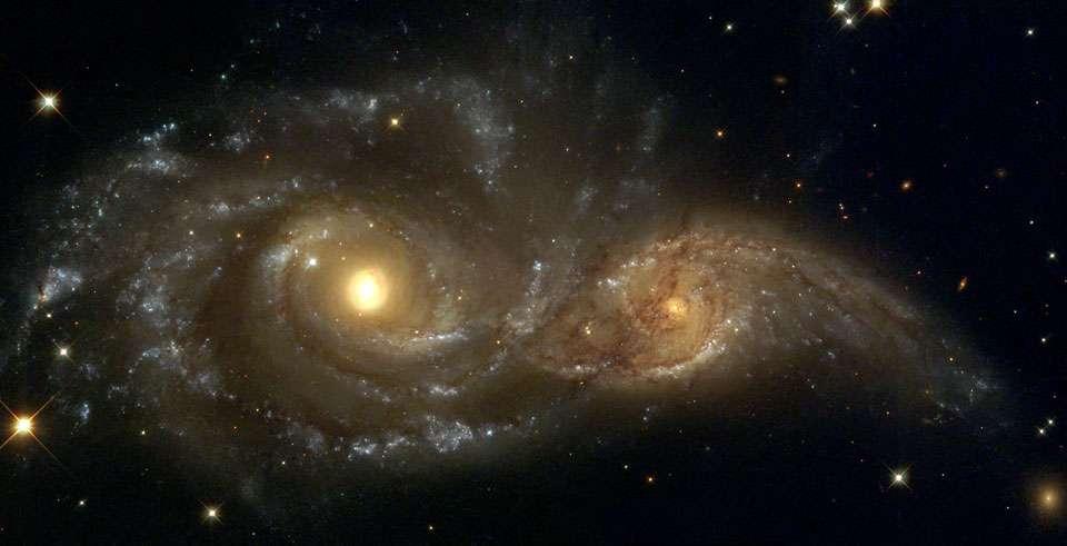 « La modélisation a montré que les jeunes galaxies ont eu moins de temps pour fusionner avec d'autres », a déclaré le Dr Gupta. Ici, des galaxies spirales en collision. © Debra Meloy Elmegreen (Vassar College) et al. et l'équipe Hubble Heritage (AURA, STScI, Nasa)