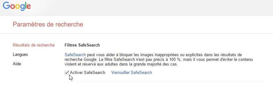 Il est possible d'activer SafeSearch de Google mais aussi de le verrouiller afin que personne d'autre ne puisse le désactiver (cliquez sur l'image pour l'agrandir). © Futura-Sciences
