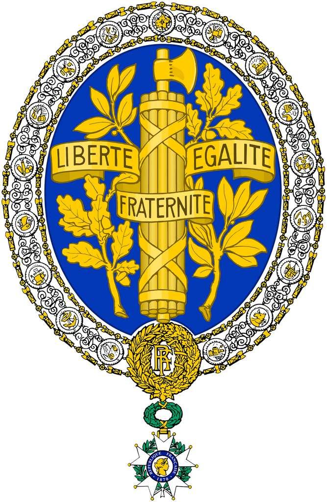 Armes de la République française, créées sous la IIIe République, à noter cette présence très importante du bleu. © Wikimedia Commons, domaine public.