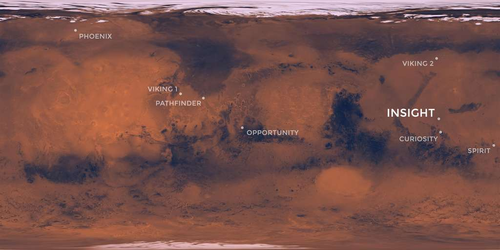 Position d'InSight sur Mars. © Nasa, JPL