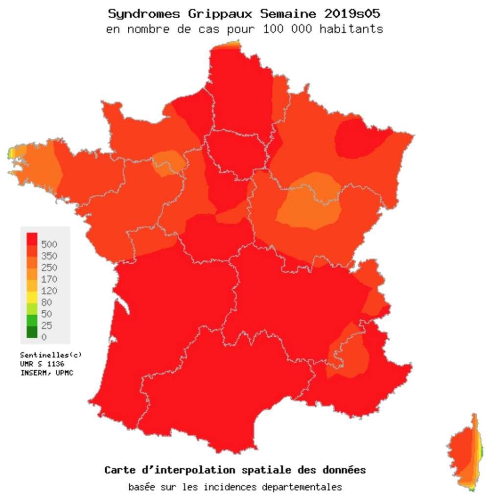carte de la grippe L'épidémie de grippe s'intensifie et a déjà fait plus de 1.000 morts