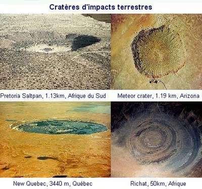 Les cratères d'impact de météorites font généralement 24 fois la taille du corps rocheux. © Documents NRCAN et LPI