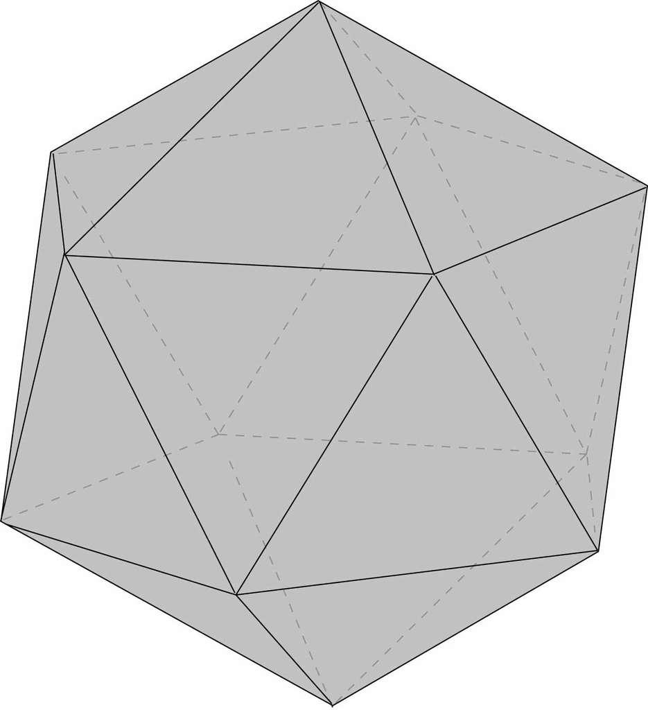 L'icosaèdre régulier ne peut servir de modèle pour un ballon de football en raison de ses nombreuses pointes. © Hervé Lehning, DR