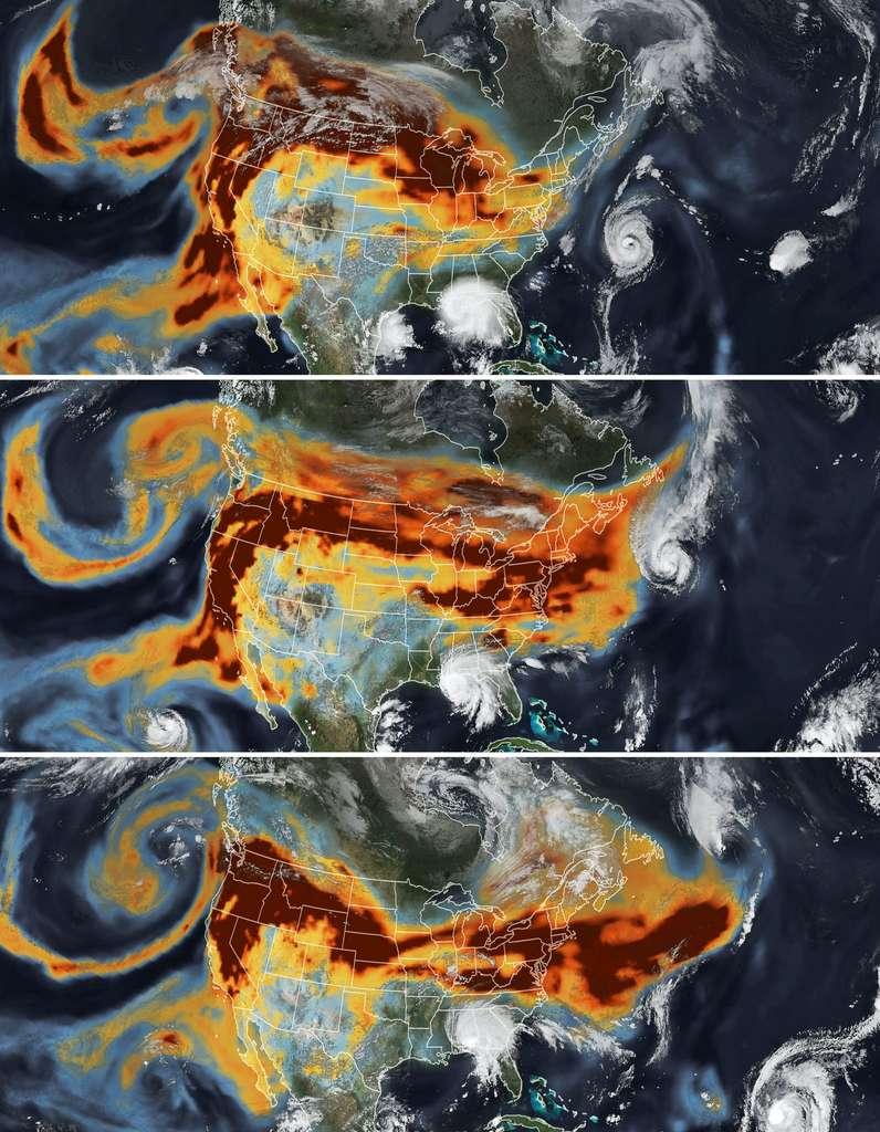 Les données sur le noir de carbone proviennent du modèle de traitement Geos-FP qui assimile les informations des systèmes d'observation satellitaires, aériens et au sol. La suite de radiomètres d'imagerie infrarouge visible (VIIRS) du satellite NOAA-Nasa Suomi NPP a acquis les images des tempêtes. © Nasa Earth Observatory