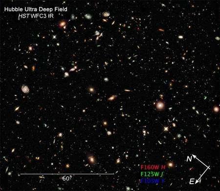 Cliquer pour agrandir. Le HUDF pris dans l'infrarouge proche par Hubble. Crédit : Nasa-Esa