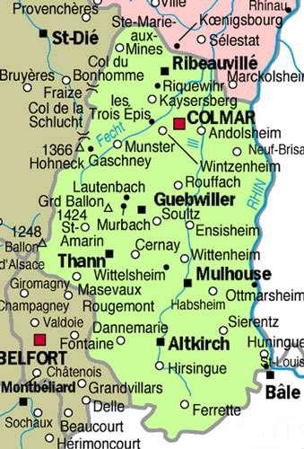 Carte du département du Haut-Rhin avec ses principales villes. © Domaine public
