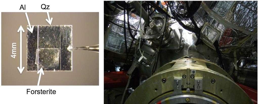 Un échantillon de forstérite coincé entre de l'aluminium (Al) et du quartz (Qz) a été bombardé par des impulsions lasers afin d'y générer des ondes de choc et de simuler les collisions entre la proto-Terre et des planétésimaux. Le laser Gekko XII que l'on voit sur la photo de droite a été utilisé pour cela à l'université d'Osaka. © Toshimori Sekine, Hiroshima University