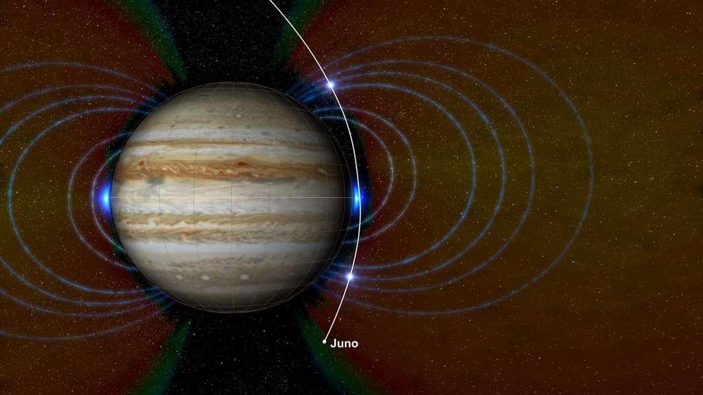 Sur ce schéma, la nouvelle zone de rayonnement détectée par Juno au niveau de l'équateur de Jupiter est en bleu. © Nasa, JPL-Caltech, SwRI, JHUAPL
