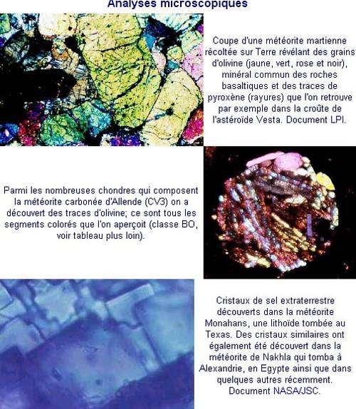 Analyses microscopiques de météorites. © Documents NRCAN et LPI
