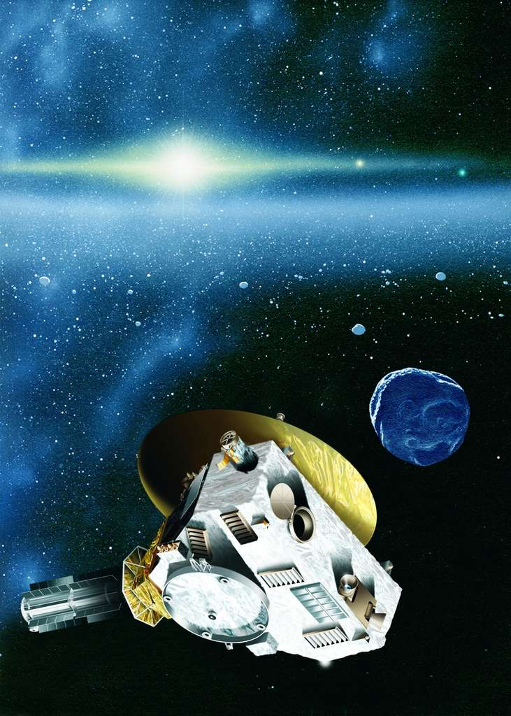 Après Pluton, la sonde New horizons devrait se diriger vers un objet transneptunien. Sa trajectoire pourrait nous révéler l'existence de corps célestes beaucoup plus massifs, des superterres. © Johns Hopkins University APL/Southwest Research Institute