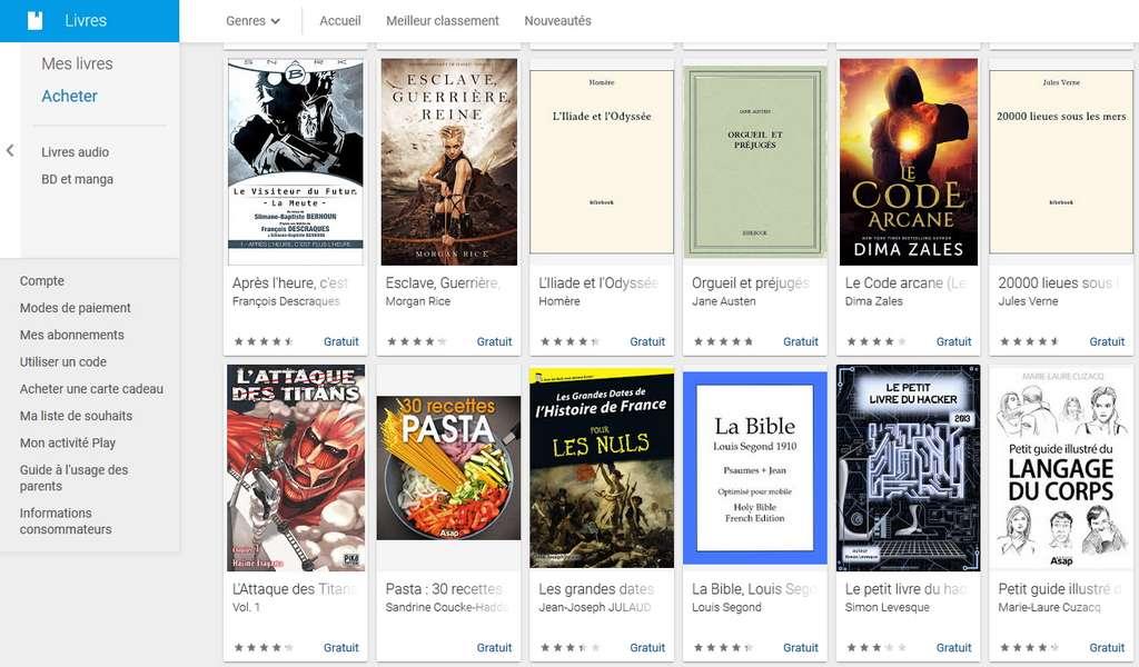 Il est possible de trouver des dizaines d'ebooks gratuits sur Google Play. © Google