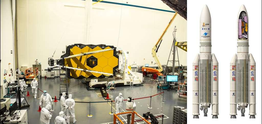 Comment le miroir primaire de 6,5 mètres du JWST peut-il être logé à l'intérieur de la coiffe d'Ariane 5 dont le diamètre n'excède pas 5,4 mètres ? Réponse : en le pliant ! L'image de gauche montre des essais pour plier le miroir en configuration de lancement. © Northrop Grumman et ESA, D. Ducros pour la vue d'artiste d'Ariane 5