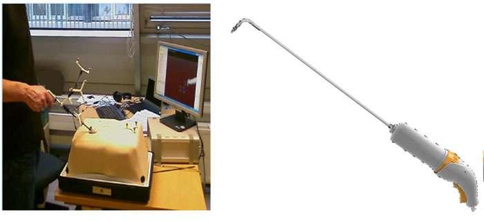 À gauche : le simulateur utilisé pour la conception d'instruments de chirurgie laparoscopique actifs. À droite : une vue de l'instrument Jaimy, issu de ces recherches, qui sera prochainement mis sur le marché par la société Endocontrol. © Gauche : Isir-UPMC/Endocontrol