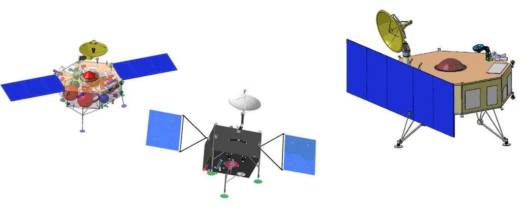 De gauche à droite, concepts d'atterrisseurs MarcoPolo-R proposés par Astrium, OHB et Thales Alenia Space. © DR