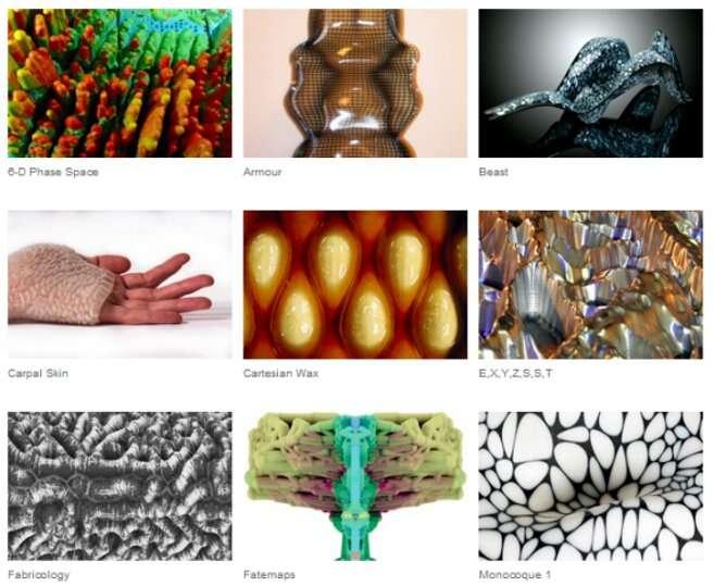 Différentes textures issues des projets de Neri Oxman, obtenues à partir de l'impression 3D. © Neri Oxman