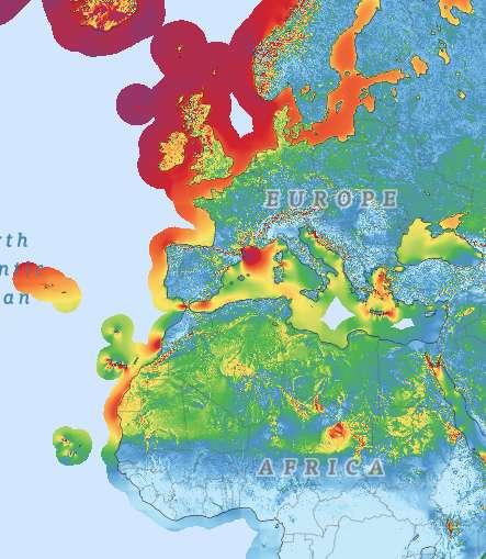 La Banque mondiale et l'Université technique du Danemark proposent un Global Wind Atlas, un atlas mondial sur l'énergie éolienne. Ici, la densité de puissance à 50 mètres d'altitude : en rouge, plus de 900 W/m2, en jaune, autour de 450 W/m2 et en vert, de l'ordre de 300 W/m2. © Banque mondiale