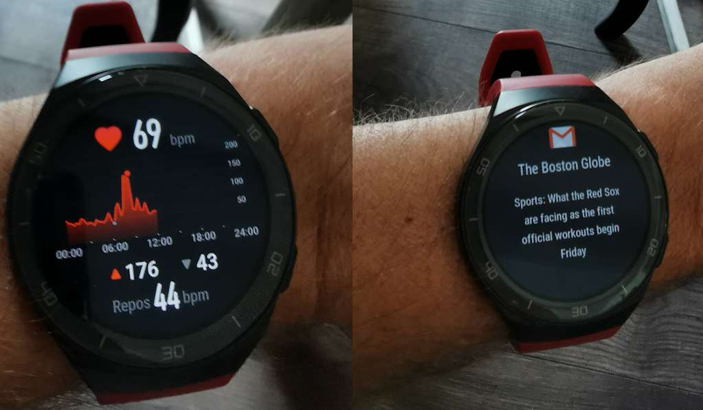 Left, the real-time heart rate.  On the right, the display of an email notification with the sender and the title of the message.  © Futura