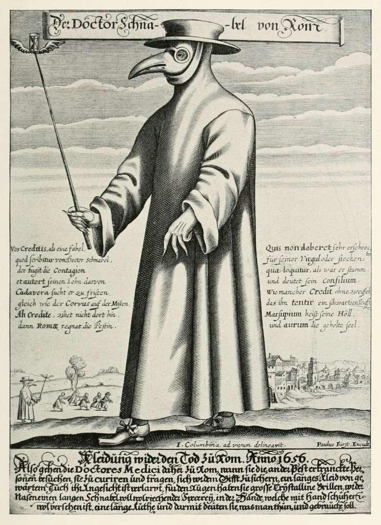Le docteur de peste, ainsi que le dépeint l'illustration accompagnant le poème satirique « Doctor Schnabel von Rom ». © Paul Fürst, Domaine public, Wikimedia Commons