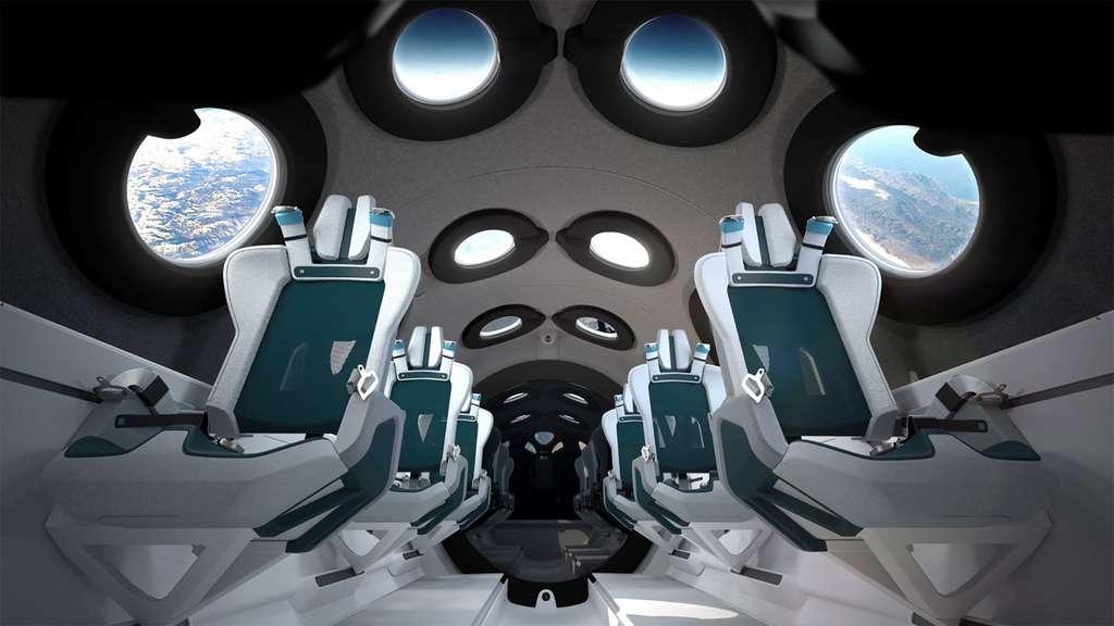 L'intérieur de la cabine passagers du SpaceShipTwo de Virgin Galactic. © Virgin Galactic