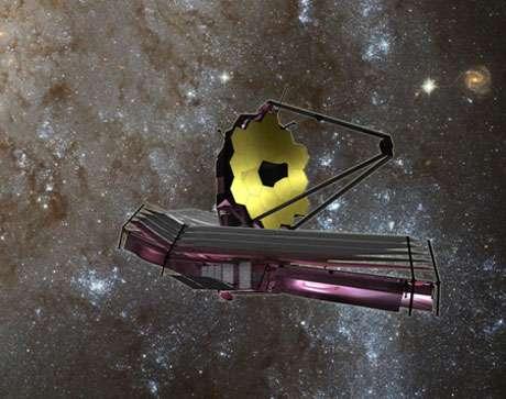 Figure 9 : Autre vue du futur télescope spatial James-Webb, dont le lancement prévu initialement en 2014 a été repoussé à 2021. D'un diamètre de plus de 6 mètres, équipé d'une caméra et d'un spectrographe infrarouge, il devrait permettre de voir les premières galaxies qui sont se formées dans l'Univers. © Domaine public