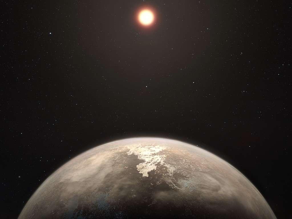 Cette vue d'artiste montre la planète tempérée Ross 128 b ainsi que son étoile hôte, une naine rouge, en arrière-plan. Ce nouveau monde constitue, à ce jour, la seconde planète peut-être tempérée la plus proche de la Terre après Proxima b. © ESO, M. Kornmesser