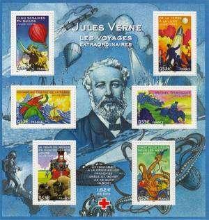 Cliquez pour découvrir la vie de Jules Verne. Bloc de timbres émis à l'occasion de l'Année Jules Verne. © DR