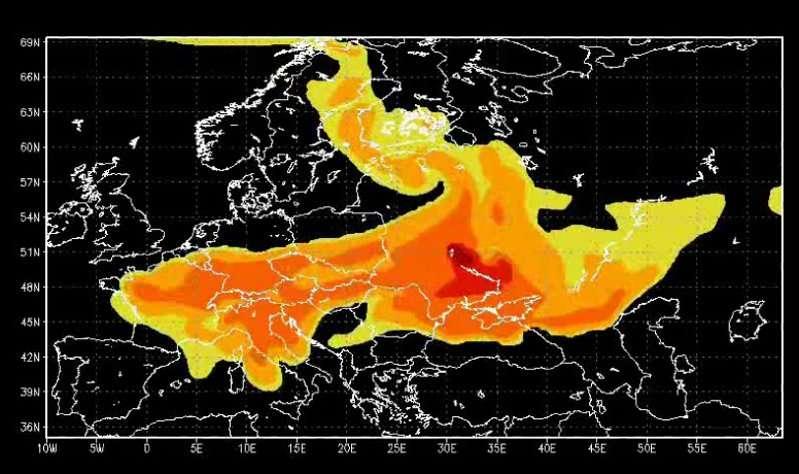 Quelles sont les conséquences des retombées du nuage radioactif de Tchernobyl ? Ici, une carte du panache radioactif montrant les taux de césium 137 au-dessus du sol, au 1er mai 1986. © IRSN