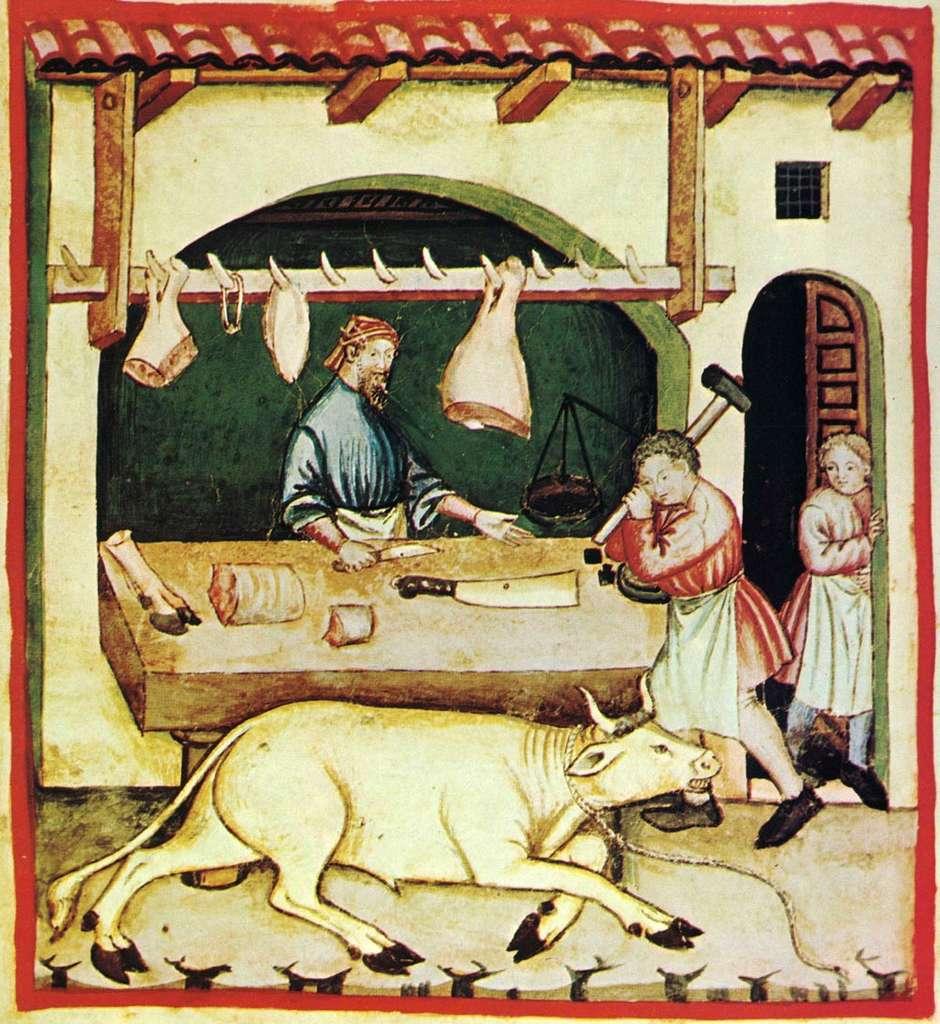 Représentation d'un boucher au Moyen Âge. © unknown, Wikimedia Commons, Domaine Public