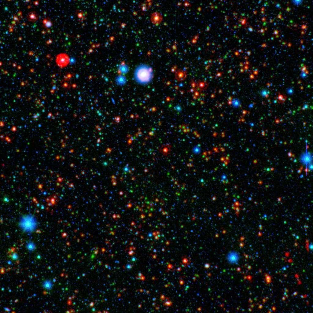Des points multicolores pour comprendre l'Univers d'aujourd'hui. Voir la légende dans la suite du texte. © Nasa/JPL-Caltech/Texas A M