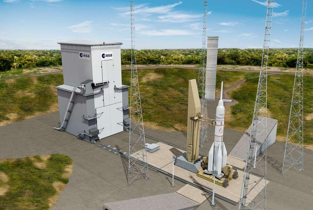 Une Ariane 6, dans sa version habitée avec, à son bord, une capsule de transport d'équipage. Notez, à gauche de l'image, le toboggan d'évacuation d'urgence. © CNES