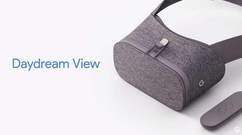 Le casque de réalité virtuelle Daydream View, en textile, se branche sur le téléphone Pixel et s'ajoute à la plateforme du même nom, déjà présentée cette année. © Google